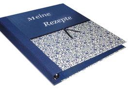 """Ringbuchordner für DinA4 , 3 ,5 cm breit, Ornamente blau mit Text """" Meine Rezepte """""""