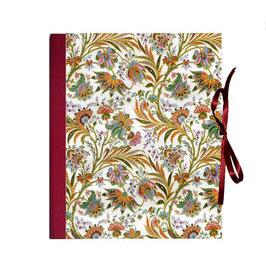 Ringbuchordner für DinA4 , 3 ,5 cm breit, Florentiner Papier buntes Fahnenkraut rot
