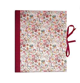 Ringbuchordner  DinA4  Florentiner Papier kleine Ornamente bunt gold, 3 cm breit