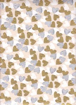 Nepal Papier / Lokta Papier Herzen silber gold weiß