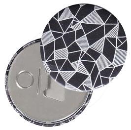Flaschenöffner mit Magnet oder Taschenspiegel,Handspiegel  ,Button, 59 mm Durchmesser,  Geometrisches Muster weiß schwarz