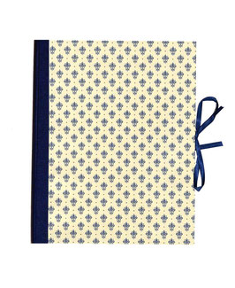 Ringordner DinA4, 2cm breit, Florentiner Papier Blumen Krönchen blau gold