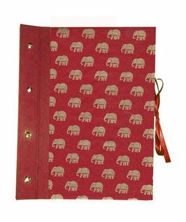 Fotoalbum Schraubalbum DinA4  , Hochformat mit offenem Buchrücken,Nepalpapier Elefanten gold auf rot