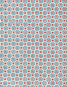 Italienisches Papier Carta Varese / Buntpapier Blümchen blau rot
