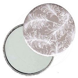 Flaschenöffner mit Magnet oder Taschenspiegel,Handspiegel  ,Button, 59 mm Durchmesser, weiße Federn auf grau