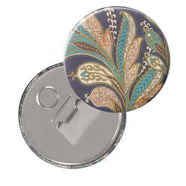 Flaschenöffner mit Magnet oder Taschenspiegel,Handspiegel, mit Echtglas ,Button, 59 mm Durchmesser,Florentiner Papier La Boheme mit Golddruck