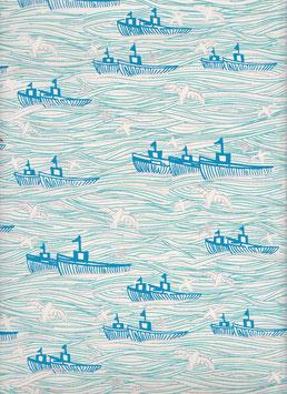 """Baumwoll Papier handgeschöpft, aus Nordindien """" Ozean blau silber beige  """""""