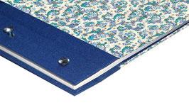 Fotoalbum Schraubalbum , DinA4  , Hochformat mit offenem Buchrücken, Florentiner Papier Ornamente  blau gold