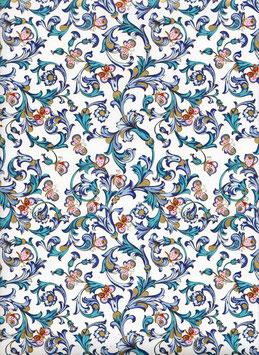 Florentiner / Italienisches Papier  50 x 70 cm Ornamente blau grün gold mit Schmetterlinge