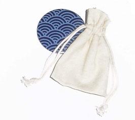 Baumwollbeutel klein - hellbeige, 8 x 10 cm. ohne Inhalt / Button