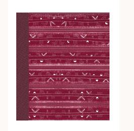 Ringordner Din A5,  2 cm breit, italienisches Papier Streifen bordaux