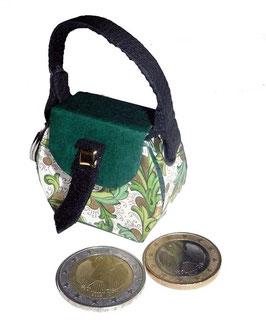 Kleine Mini Tasche als Anhänger / Schlüsselanhänger grün
