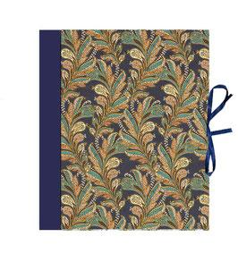 Ringordner DinA4 mit Bügelmechanik 7 cm breit, Florentiner Papier, mit Golddruck, La Boheme, dunkelblau
