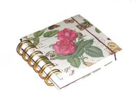 Notizbuch klein, mit goldener Ringbindung Wire-O Bindung,  Rosenkomposition mit Golddruck
