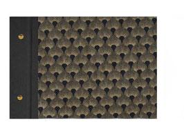 Fotoalbum Schraubalbum Din A4, Querformat, Baumwollpapier Pfauenmuster bronze gold auf schwarz