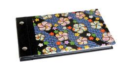 Fotoalbum Schraubalbum klein Yuzen Washi Papier Blumenkreise bunt auf schwarz