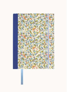 Schreibbuch Notizbuch Tagebuch , DinA5  ,Florentiner Papier Ornamente Vögel blau