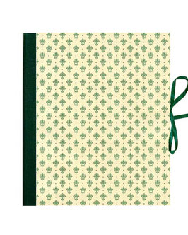 Ordner / Ringordner  DinA4  Florentiner Papier  Blumen Kronen grün gold, 3 cm breit