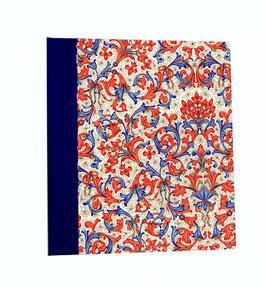 Ringordner Din A5 , 5 cm breit, mit Bügelmechanik , Florentiner Papier blau rot gold