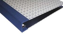 Ringordner DinA4 mit Bügelmechanik 5cm breit,Leibziger Vorsatzpapier  kleine Blümchen blau