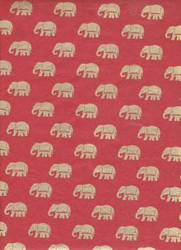 Nepal Papier / Lokta Papier goldene Elefanten auf rot
