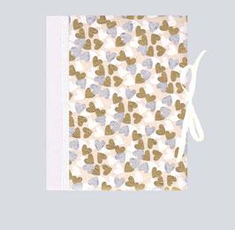 Ringordner DinA4 mit Bügelmechanik 5cm breit, Ringordner Nepal Papier Herzen silber gold weiß