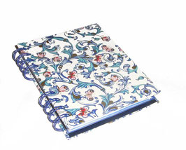 Telefonbuch / Notizbuch Din A6, mit blauer Ringbindung Wire-O Bindung, Register ABC blau , Ornamente Schmetterlinge blau gold