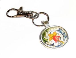Anhänger Schlüsselanhänger Cabochon, Florentiner Papier  Ornamente bunt gold 1