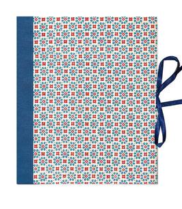Ringbuchordner für DinA4 Blumen  blau rot, blauer Buchleinen ,3 cm breit