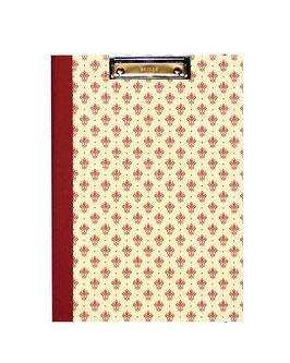 Klemmbrett Mappe DinA4 , Florentiner Papier kleine Blumenkronen rot gold