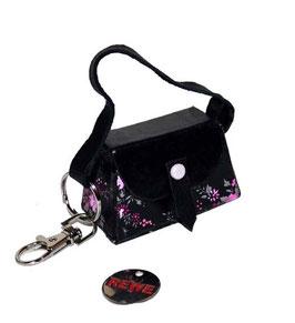Kleine Mini Tasche als Anhänger / Schlüsselanhänger rosa Blümchen auf schwarz mit Karabinerhacken