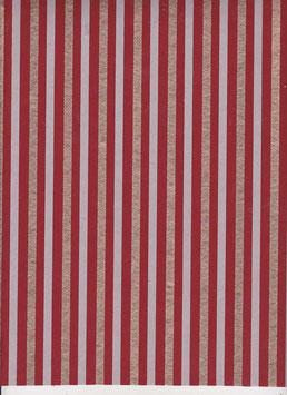 """Baumwoll Papier handgeschöpft, aus Nordindien """" Streifenmuster rot weiß gold """""""