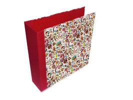 Ringordner DinA4 mit Bügelmechanik 8,5 cm breit, Florentiner Papier kleine Ornamentew bunt rot  gold