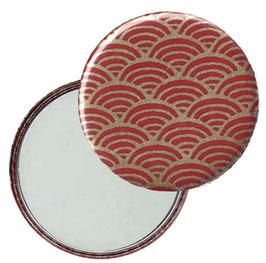 Flaschenöffner mit Magnet oder Taschenspiegel,Handspiegel  ,Button, 59 mm Durchmesser,Chiyogami Yuzen Papier,Halbkreise  gold auf rot
