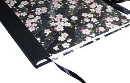 Gästebuch / Schreibbuch / Tagebuch japanischem Yuzen Papier, Kirschblüten rosa auf schwarz