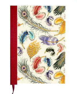 Kalender / Buchkalender / Tageskalender 2021 DinA5, Florentiner Papier bunte Federn, rot,  mit Golddruck