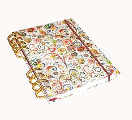 Notizbuch Din A6, mit goldener Ringbindung Wire-O Bindung, kleine Ornamente bunt gold