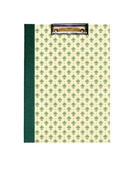 Klemmbrett Mappe DinA4 , Florentiner Papier kleine Blumenkronen grün gold