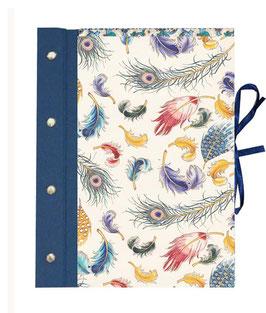 Schraubalbum / Gästebuch DinA4 Hochformat, offener Buchrücken, Florentiner Papier Federn bunt gold, blau, mit 25 Blatt weißem DinA4 Druckerpapier 160g