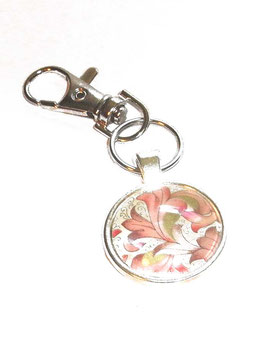 Anhänger Schlüsselanhänger Cabochon, Florentiner Papier  Ornamente rosa gold