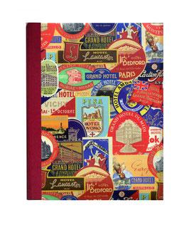 Ringbuchordner für DinA4 , 3 ,5 cm breit, Florentiner Papier Hotels mit Goddruck dunkelrot