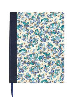 Kalender / Buchkalender / Tageskalender 2021 DinA5, Florentiner Papier, Ornamente blau gold
