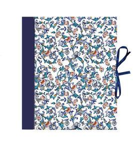 Ordner / Ringordner  DinA4  Florentiner Papier  Ornamente Schmetterlinge blau grün mit Golddruck, 3 cm breit