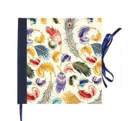 Gästebuch / Schreibbuch / Tagebuch , Florentiner Papier Federn mit Golddruck blau