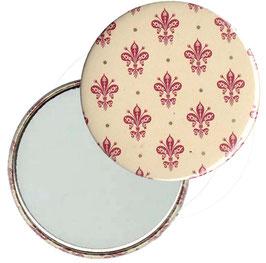 Taschenspiegel,Handspiegel, oder Flaschenöffner mit Magnet  ,Button, 59 mm Durchmesser, Blumenkrönchen rot  mit Golddruck