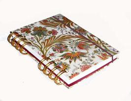 Notizbuch Din A6, mit goldener Ringbindung Wire-O Bindung, Florentiner Papier mit Goddruck, buntes Fahnenkraut