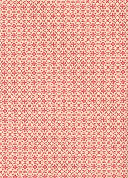 Leipziger Vorsatzpapier  kleine Blümchen rot, 03