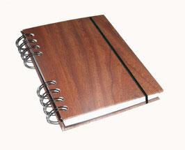 Notizbuch Din A6, mit schwarzer Ringbindung Wire-O Bindung, Holzfunier Papier dunkelbraun
