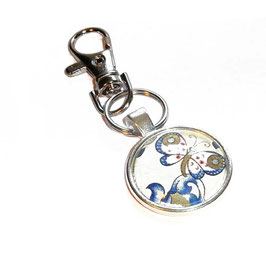 Anhänger Schlüsselanhänger Cabochon, Florentiner Papier Ornamente Schmetterlinge 2
