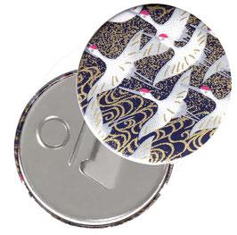 Flaschenöffner mit Magnet oder Taschenspiegel,Handspiegel  ,Button, 59 mm Durchmesser,Chiyogami Yuzen Papier,Kraniche dunkelblau gold